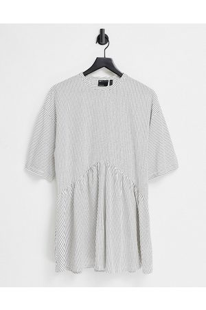 ASOS Oversized mini smock dress with dropped waist in and white stripe
