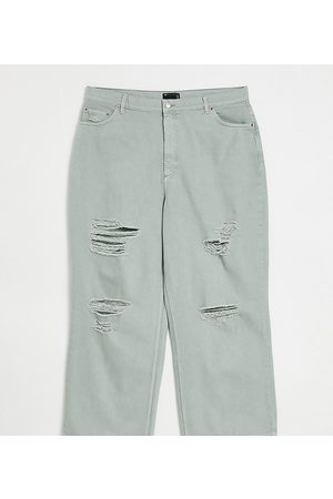 ASOS ASOS DESIGN Curve high rise 'relaxed' dad jean in iceberg with rips