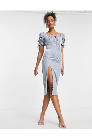 ASOS Ruched midi dress with puff sleeve and button detail