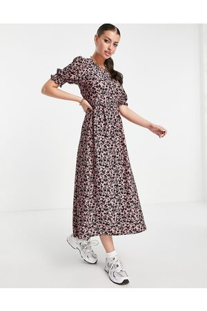 River Island Floral tie back puff sleeve midi dress in