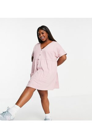 ASOS Curve button through mini smock dress with pockets in rose