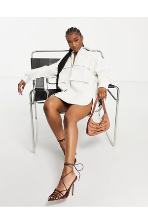 I saw it first Leather look mock croc oversized pocket detail shirt dress in