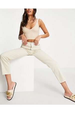 NA-KD Cotton straight leg jean in light ecru-Neutral