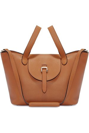 meli melo Women Tote Bags - Thela Medium Tan Leather with Zip Closure Tote bag for Women