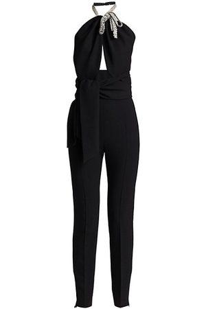 Oscar de la Renta Crystal Bow Embroidered Twist Jumpsuit