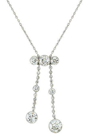 Pragnell Vintage 18kt white gold Edwardian diamond pendant necklace