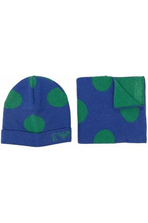 Emporio Armani Dotted beanie and scarf set