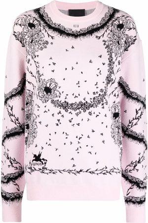 Givenchy Floral intarsia-knit long-sleeve jumper