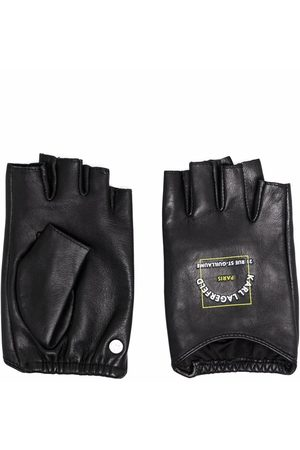 Karl Lagerfeld Patch logo-print leather gloves
