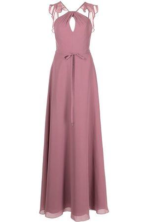 Marchesa Notte Frilled halter-neck gown