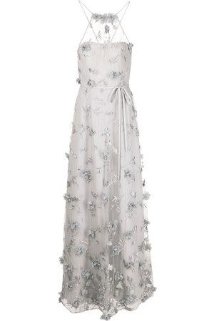 Marchesa Notte Floral-embroidered halterneck gown