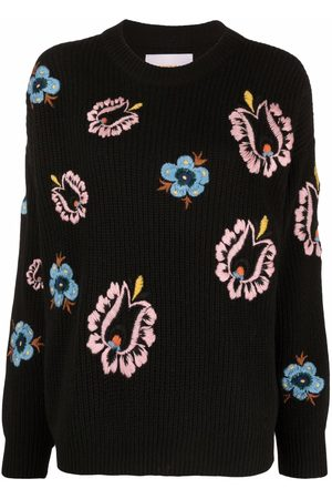 La DoubleJ Floral-embroidered knitted jumper