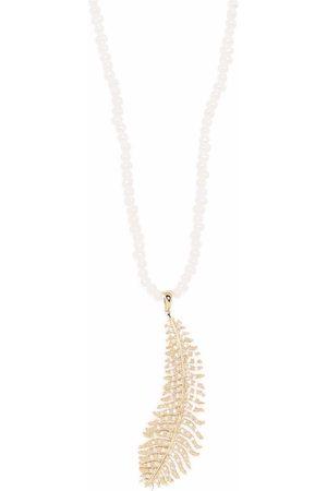 Mizuki 14kt yellow long Dancing pearl large diamond feather necklace