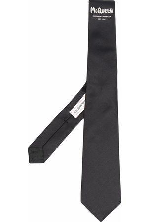 Alexander McQueen Embroidered-logo silk tie