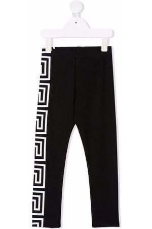 VERSACE Greca-print stretch-cotton leggings