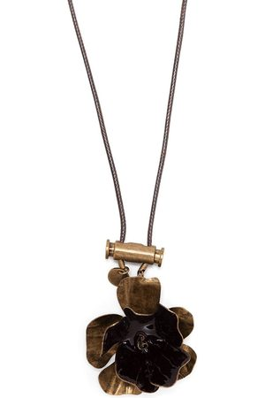 Marni Floral pendant leather necklace