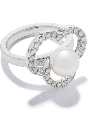 Tasaki 18kt white gold Chants Akoya pearl and diamond ring