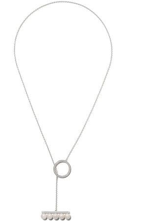 TASAKI 18kt white gold Balance divine pearl and diamond pave pendant