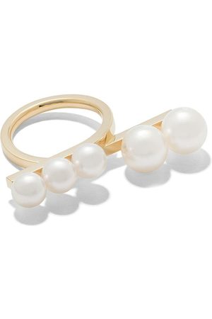 TASAKI 18kt yellow Balance loop pearl ring