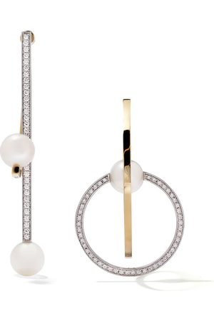 TASAKI 18kt yellow and white gold Kinetic diamond and pearl earrings
