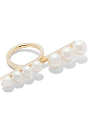 Tasaki 18kt yellow gold Balance pearl loop ring
