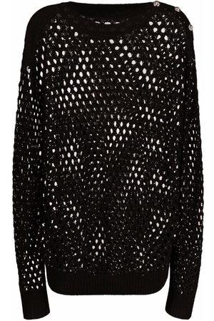 Philipp Plein Crystal-embellished pointelle-knit jumper