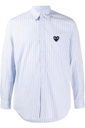 Comme des Garçons Heart patch striped shirt