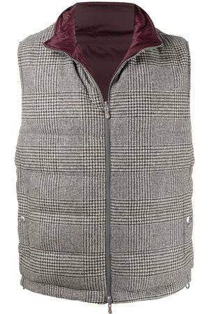 Brunello Cucinelli Reversible checked padded gilet