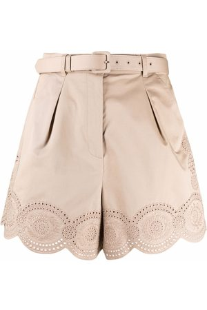 Self-Portrait Women Shorts - Embroidered belted shorts