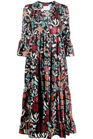 La DoubleJ Graphic-print ruffle-hem dress