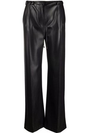 Patrizia Pepe Women Leather Pants - Wide-leg faux-leather trousers