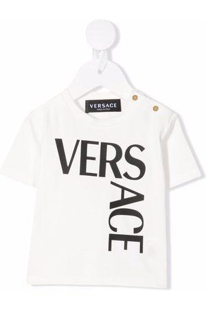 VERSACE Logo-print stretch-cotton T-shirt