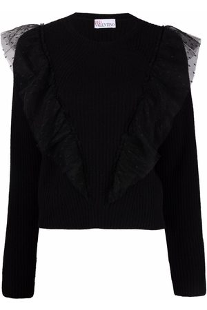 RED Valentino Tulle-trim long-sleeve jumper
