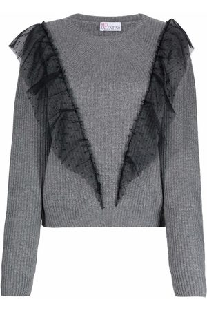 RED Valentino Women Long Sleeve - Tulle-trim long-sleeve jumper
