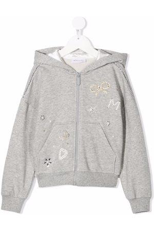 MONNALISA Ruffle-trimmed zip-up hoodie