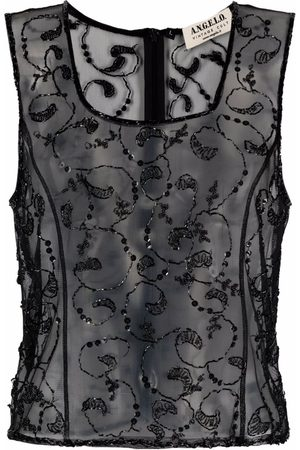 A.N.G.E.L.O. Vintage Cult Women Tank Tops - 1990s bead-embroidered sheer tank top