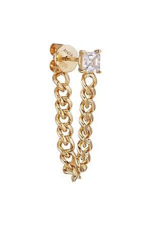 Anita 18K Yellow Gold & Asscher Diamond Cuban Link Loop Earring
