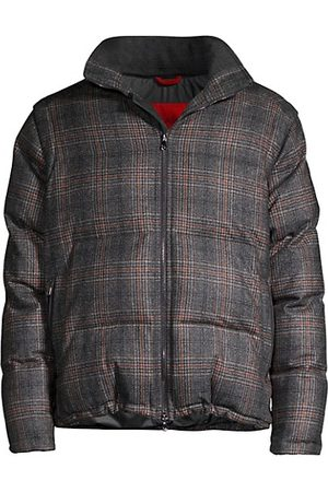 ISAIA Glen Plaid Puffer Jacket