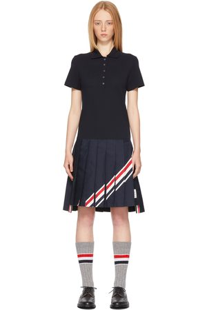Women Polo Shirts - Thom Browne Navy Diagonal Stripe Pleated Polo Dress