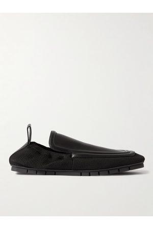 Bottega Veneta Plank Leather and Stretch-Knit Loafers