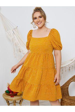 YOINS Plus Size Square Neck Polka Dot Short Sleeves Dress