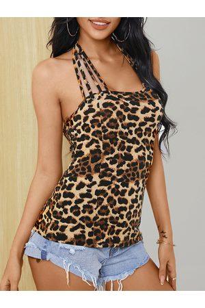 YOINS Leopard Backless Design Halter Sleeveless Cami