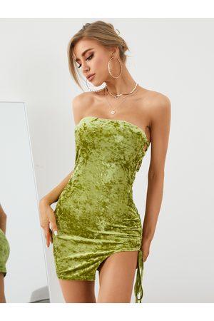 YOINS Criss-cross Asymmetrical Hem Tube Sleeveless Mini Dress
