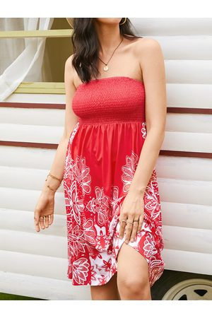 YOINS Floral Print Shirring Backless Design Strapless Tube Midi Dress