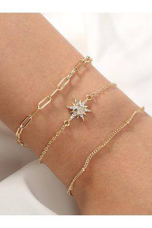 YOINS 3pcs Star Rhinestone Decor Bracelet Set