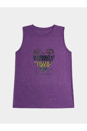 YOINS Leopard & Zebra Stripe Heart Print Sleeveless Tank Top