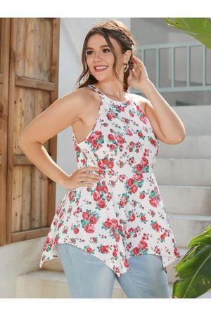 YOINS Plus Size Halter Floral Print Sleeveless Cami