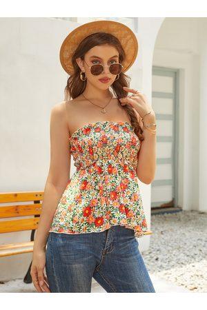 YOINS Floral Print Shirring Backless Design Strapless Tube Top
