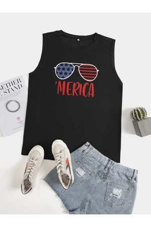 YOINS Plus Size Crew Neck Letter Independence Day Tank Top