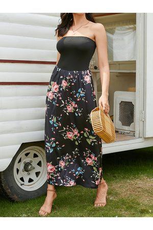 YOINS Floral Print Backless Design Tube Strapless Maxi Dress